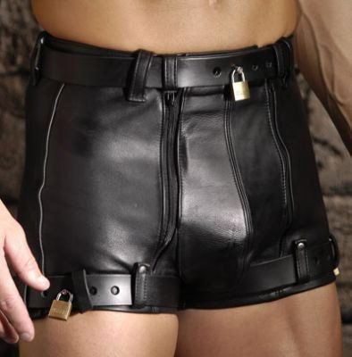 Strict Leather Premium Leather Male Chastity Shorts, 38 Inches Waist by Strict Leather
