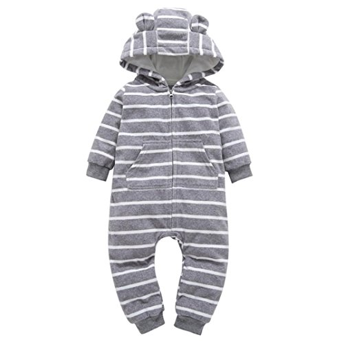 DaySeventh Infant Baby Boy Girl Cute Hooded Romper Jumpsuit Outfit Home Clothes (18M, Gray)