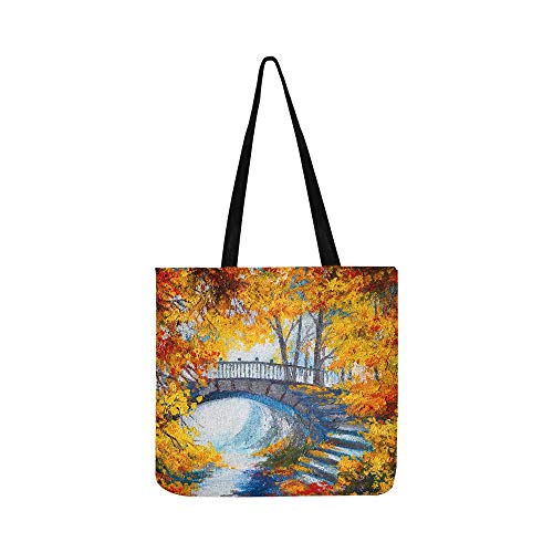 Oil Painting Art Autumn Forest Road Bridge Landscape Canvas Tote Handbag Shoulder Bag Crossbody Bags Purses For Men And Women Shopping Tote