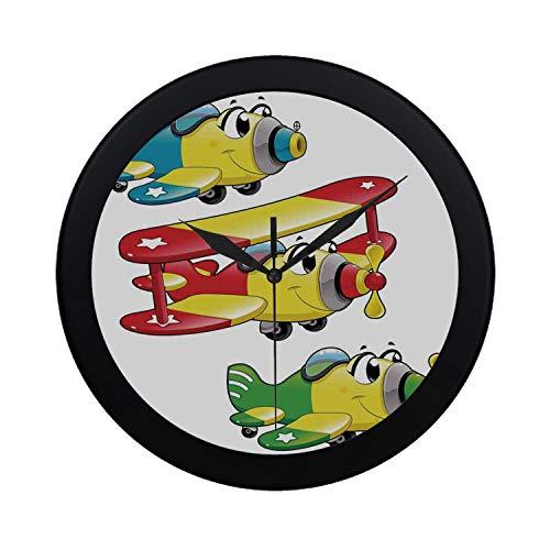 C COABALLA Kids Boys and Girls Room Decor Circular Plastic Wall Clock,Airplanes Plane Jet Cartoon Aircraft Flying Childrens Decor Decorative for Home,9.65