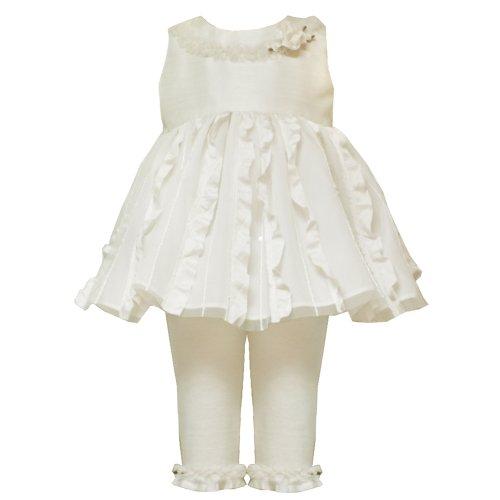 Rare Editions Baby-Infant 12M-24M Ivory Vertical Ruffle Sequin Dress/Legging Set