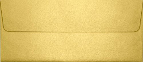 Square Square Flap - #10 Square Flap Envelopes (4 1/8 x 9 1/2) - Gold Metallic (50 Qty) | Perfect for Checks, Invoices, Letterhead, Letters, Statements | 5360-07-50