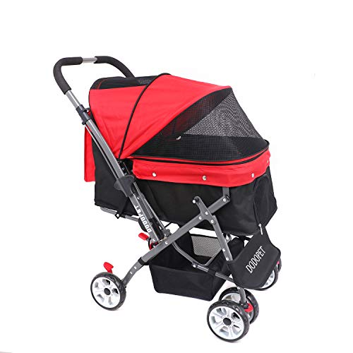 (DODOPET - Dog/Cat/Pet Stroller, 4 Wheel Dog Cage Stroller, Reversible Handle Bar, Pet Travel Folding Carrier, Strolling Cart, Strong and Stable, for Medium Pets Up to 50 lbs, Two Color(Red))
