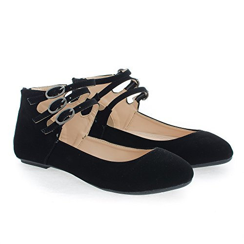 Triple Buckle Ankle Cuff Extra Cushioned Ballet Flats Black Nub GT1Pd