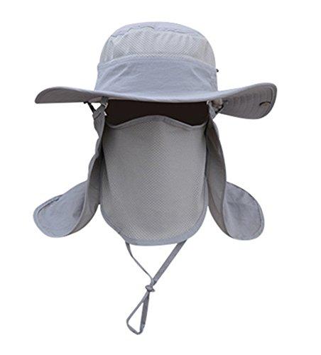 Men Women Outdoor Hat with Wide Brim Sun Protection Summer Cap (Light Grey)