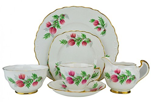 6 Persons Attractive Mid-century Modern Floral Saucer TEA SET Ridgway Pink Vintage Porcelain Cup English 1950s LS