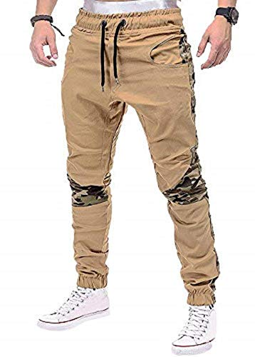 Percy Perry Men's Cargo Pants Tactical Army Trousers Combat Work Military Stitching Camouflage Khaki. S