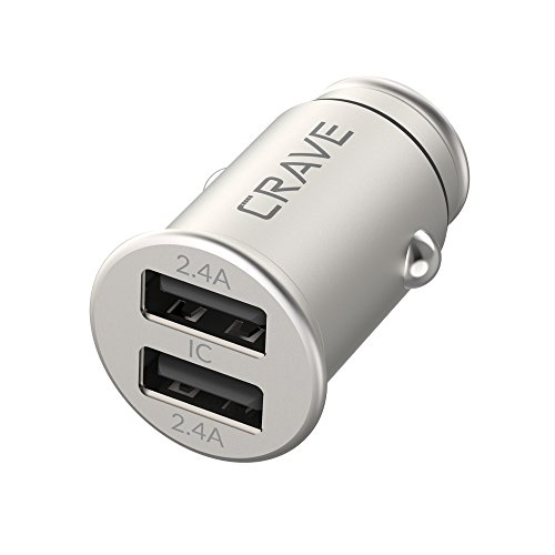 Crave Bullet 24W 4.8A 2 Port Dual USB Universal Compact Car Charger, Smart Charge IC Technology