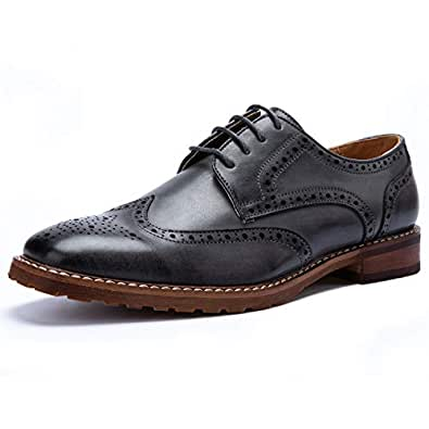 BESTON Men's Wingtip Lace Up Oxfords Grey Size: 10 US