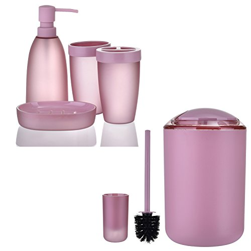 iMucci Pink 6pcs Bathroom Accessories Set - with Trash Can Toothbrush Holder Soap Dispenser Soap and Lotion Set Tumbler Cup by iMucci