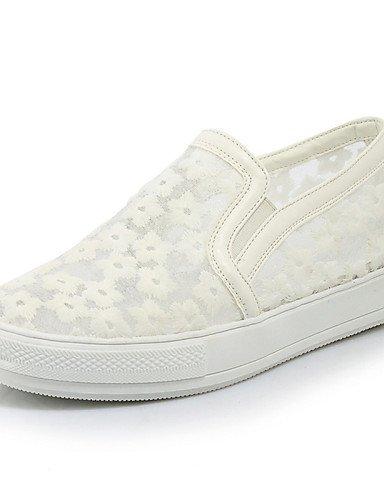 ZQ gyht Zapatos de mujer-Plataforma-Comfort / Punta Redonda-Mocasines-Vestido / Casual / Deporte-Semicuero-Negro / Rosa / Blanco , white-us6 / eu36 / uk4 / cn36 , white-us6 / eu36 / uk4 / cn36 white-us9.5-10 / eu41 / uk7.5-8 / cn42
