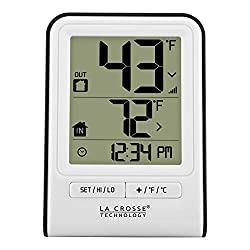 La Crosse Technology 308-1409WT-CBP Wireless Temperature Station with Time,White,