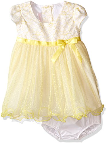 - Bonnie Baby Girls' Short Sleeve Ballerina Party Dress with Panty, Yellow, 24 Months