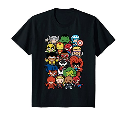 - Kids Marvel Heroes And Villains Team Kawaii Kids Graphic T-Shirt