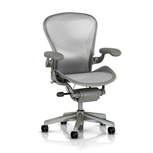Herman Miller Classic Aeron Task Chair: Basic - Standard Tilt - Fixed Vinyl Arms - Standard Carpet Casters - Titanium Frame/Zinc Classic Pellicle - Size C (Large) - Aeron Classic Frame