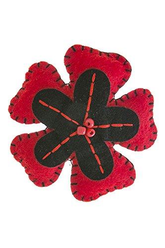 Estate Flowers Brooch (KARMAS CANVAS SIMPLE BEADED FELT FLOWER BROOCH (BLACK/RED))