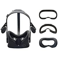 VR Cover Foam Pad Replacement Set for Oculus Rift Headset - Facial Interface with 100% Vegan Leather PLUS washable Cotton cover for hygiene