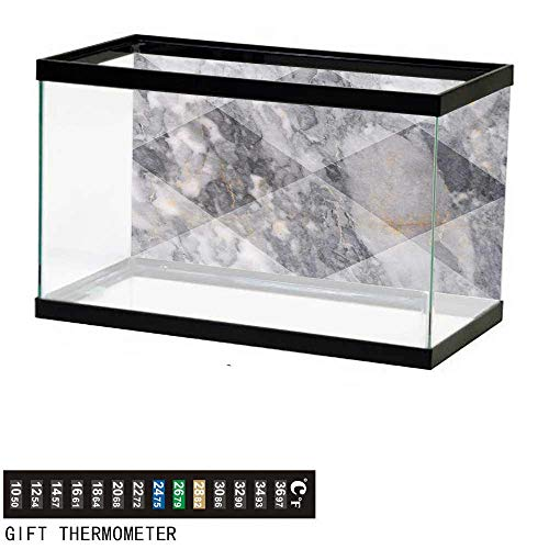 "wwwhsl Aquarium Background,Marble,Geometric Diamond Shaped Grunge Granite Rock Facet Forms Ceramic Abstract Print,Pale Grey Fish Tank Backdrop 24"" L X 12"" H"