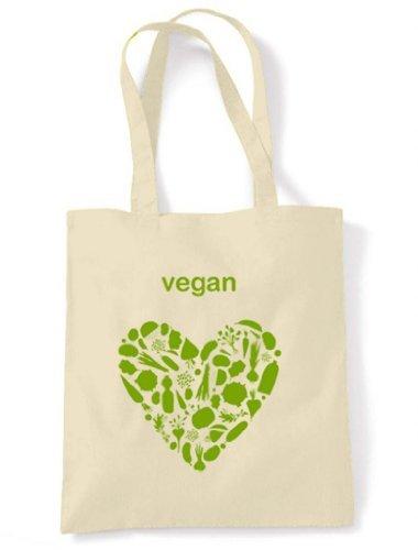 Cream Vegan Vegan Heart Heart Cotton Shoulder Unbleached Tote Bag gqUY6xFU