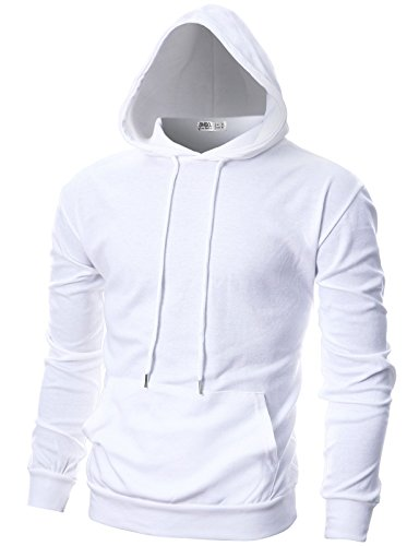 (OHOO Mens Slim Fit Long Sleeve Lightweight Hoodie with Kanga Pocket/DCF010-WHITE-XL)