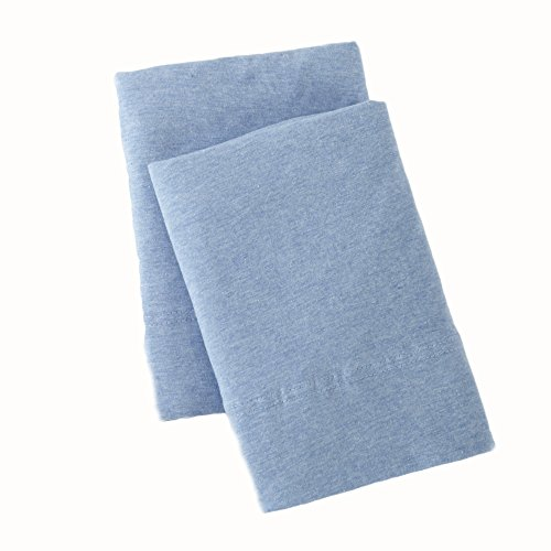 Great Bay Home Extra Soft Heather Jersey Knit (T-Shirt) Pillowcases. 2-Pack of Soft, Comfortable, Cozy Pillowcases. Carmen Collection Brand. (King, Sky Blue) ()