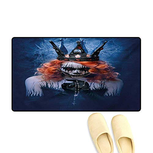 Door Mats,Queen of Death Scary Body Art Halloween Evil Face Bizarre Make Up Zombie,Bath Mat Non Slip,Navy Blue Orange Black,20