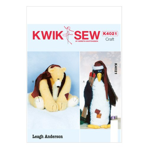 KWIK-SEW PATTERNS K4021 Penguin and Bear Sewing Template,...