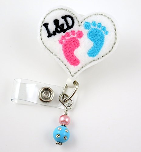 Labor and Delivery Heart - Nurse Badge Reel - Retractable ID Badge Holder - Nurse Badge - Badge Clip - Badge Reels - Pediatric - RN - Name Badge Holder