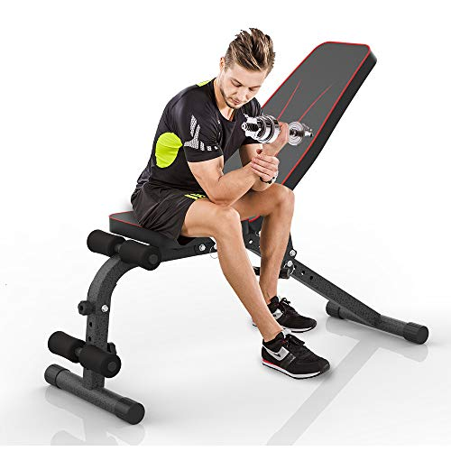 JUFIT Workout Bench Foldable & Adjustable Fitness Training Weight...