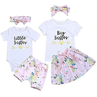 Xinlykid Kids Newborn Baby Girl Clothes Little Sister/Big Sister T-Shirt+Floral Shorts Pant/Tutu Skirt Outfit Matching Set - White - 2T / 3T