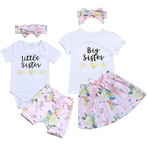 Toddler Little Kid Girl Skirt Polka Dot Tutu Tulle Dress+Big Sister T-Shirt+Bowknot Headband Summer Outfits Clothes Set (E-White, 1-2 Years)