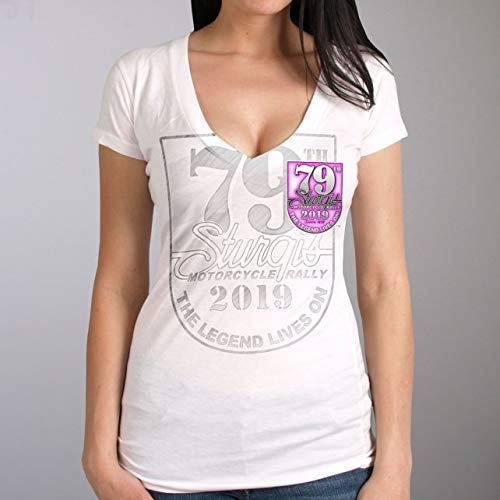 Official 2019 Sturgis Motorcycle Rally Logo Angel Wings Ladies V-Neck White T-Shirt WHITE Large