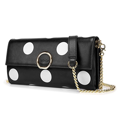 Card Bag Soft Leather Iphone With Wallet Black Women Dots Utotebag Crossbody Cluth Slot Shoulder Purse Polka Handbag Pouch Genuine gvSpc6qw