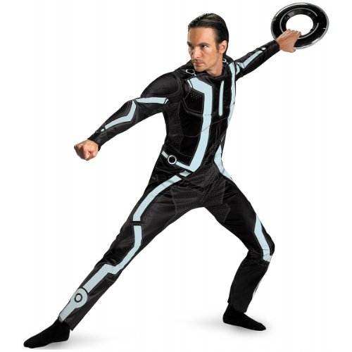 Tron Legacy Costume (Disguise Men's Disney Tron Legacy Movie Deluxe Costume, Black/Aqua, X-Large)