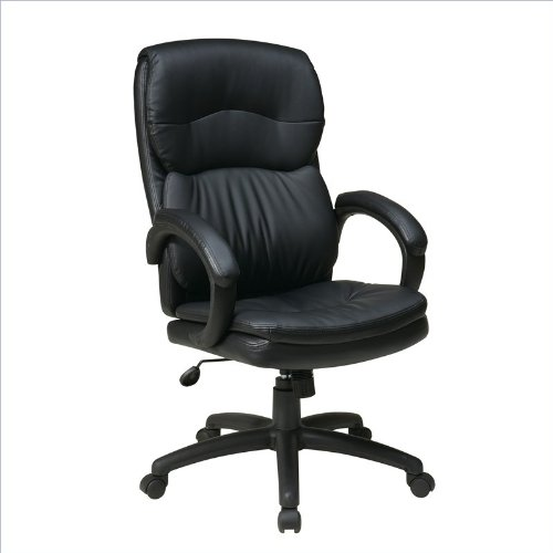 picture of Work Smart High Back Black Eco Leather Executive Chair with Padded Arms
