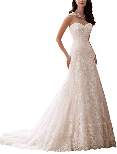 Ubridal Sweetheart A-line Lace Appliques Tulle Wedding Dresses Bridal Gowns for Bride