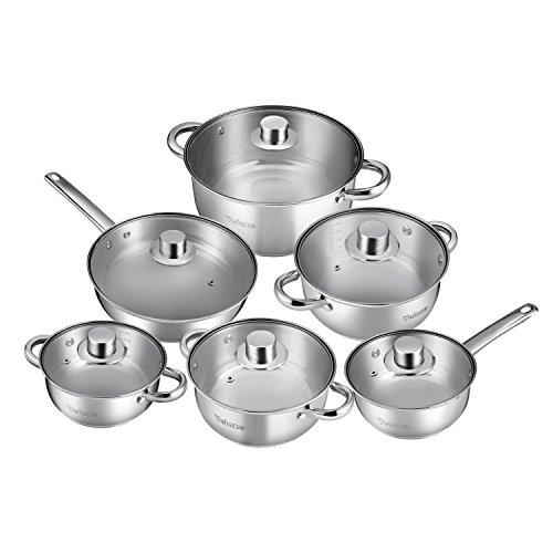 Velaze 12-Piece Stainless Steel Cookware Set, Classic Nonstick Pots & Pans Set, Dishwasher Safe Oven Safe, Silver -