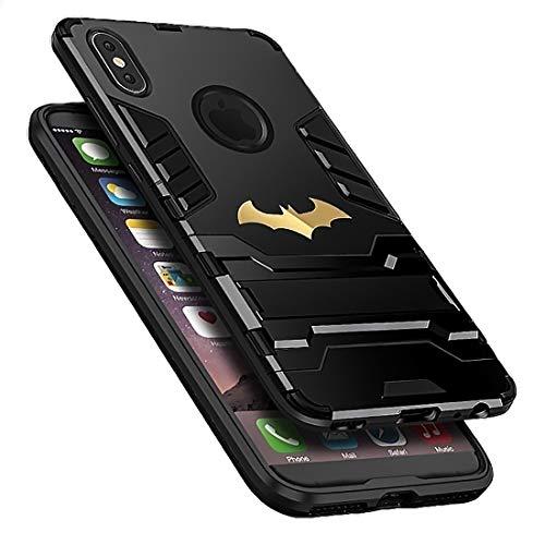 Power Armor Super Bat Hero Man Maximum 360 Full Protection Stand Anti Knock Hybrid Case for iPhone X 7 8 6 6s Plus XS (Black, iPhone 6 6s)