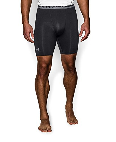Under Armour Men's HeatGear Armour Compression Shorts – Mid, Black (001)/Steel, X-Large by Under Armour (Image #2)