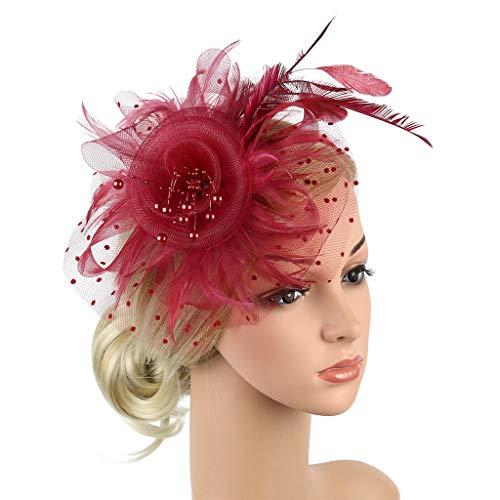 Ximandi Flapper Great Gatsby Headband Pearl Charleston Party Bridal Headpiece Wine Red - Headpiece Pieces