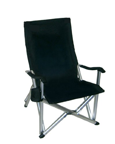 World Outdoor Products NEW RUSTPROOF DESIGN Luxury BLACK Lightweight Aluminum  Folding LAWN CHAIR Featuring Washable,