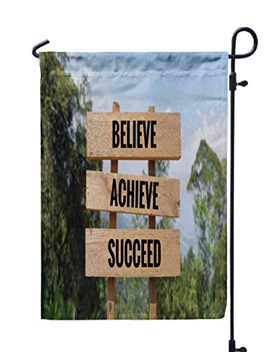 Shorping Open Garden Flag, 12x18Inch Motivational and Inspirational Achieve on Wooden Vintage Styled for Holiday and Seasonal Double-Sided Printing Yards Flags -