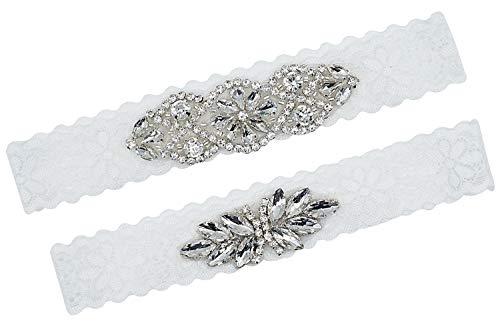 (Lovful Bridal Garter Stretch Lace Bridal Garter Sets with Rhinestones for)