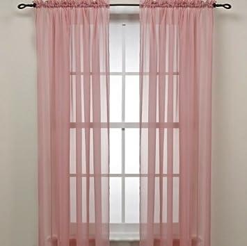Rose Pink Sheer Window Panel Curtain (2) By Editex