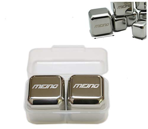 4X4X4cm Jumbo size MEINO Stainless Steel Resuable Ice Cubes, set of 2 ()