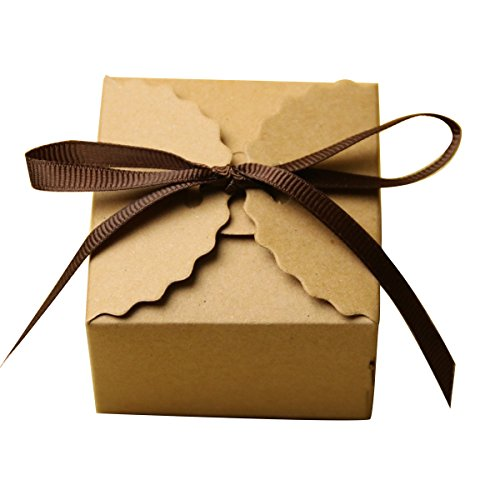 Tongshi Kraft Paper Candy Favor Boxes with Ribbon Wedding Favor Gift Party Supply, Set of 50 by Tongshi