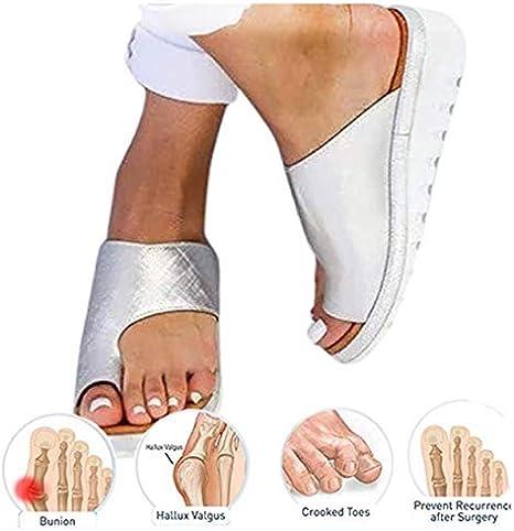 KT Mall 2020 Nuevas Mujeres cómodas Sandalias de Plataforma Zapatos ortopédicos Verano Punta Plana Post juanete Zapatillas de Viaje correctivas de Playa para Novias Regalos de Madre,Plata,7 UK