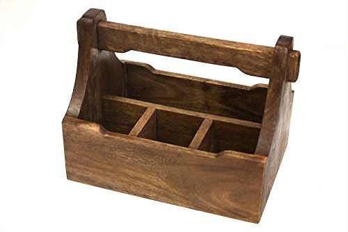 """Mountain Woods Brown 4 Compartment Mango Wood Condiment Caddy   Tabletop Cutlery and Napkin Holder - 9.125"""" x 3"""" x 3.125"""""""