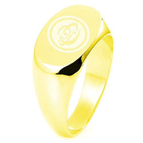 (Gold Plated Sterling Silver Cosmic Element Rune Symbol Engraved Oval Flat Top Polished Ring, Size 4)