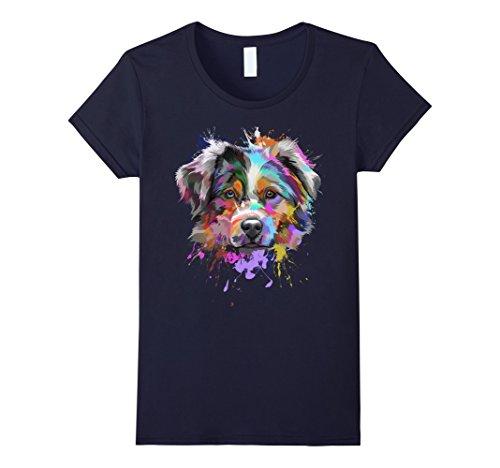 Womens Splash Art Australian Shepherd T-Shirt   Aussie Lover Gifts Small Navy